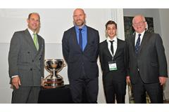 Lawrence Dallaglio receives the Arthur Bell Trophy (Theodore Wood)