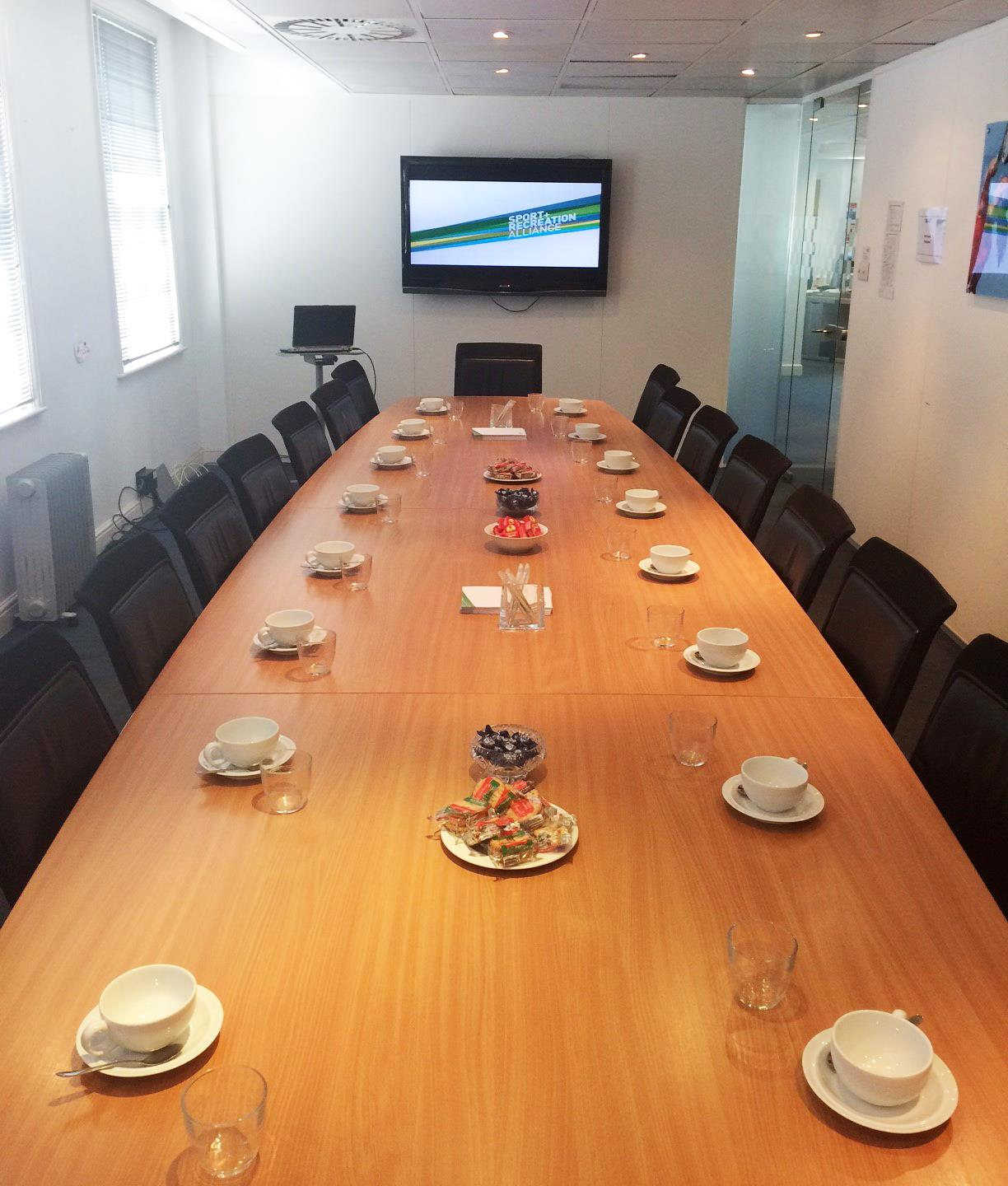 Meeting Room Hire SRA Sport And Recreation Alliance - 20 person conference table